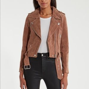 Blank nyc suede leather moto jacket brown